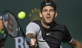 Juan Martin del Potro, of Argentina, returns a shot against Philipp Kohlschreiber, of Germany, during the quarterfinals at the BNP Paribas Open tennis tournament, Friday, March 16, 2018, in Indian Wells, Calif. (AP Photo/Mark J. Terrill)