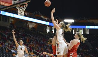 Oregon State's Marie Gulich (21) shoots against Western Kentucky during a game in the first-round of the NCAA women's college basketball tournament, Friday, March 16, 2018,  in Knoxville, Tenn. (Scott Keller/The Daily Times via AP)