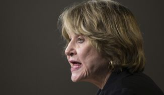 FILE - In this March 25, 2014 file photo, Rep. Louise Slaughter, D-N.Y., speaks during a news conference on Capitol Hill in Washington.   An aide to Slaughter says the 88-year old Democratic congresswoman from upstate New York has died. (AP Photo/ Evan Vucci)