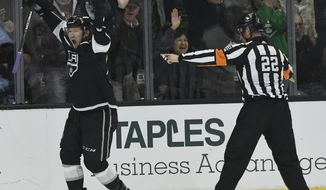 Los Angeles Kings center Tyler Toffoli celebrates his third-period goal against the Detroit Red Wings in an NHL hockey game Thursday, March 15, 2018, in Los Angeles. The Kings won 4-1(AP Photo/John McCoy)