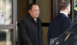 North Korean Foreign Minister Ri Yong Ho leaves the Swedish government building Rosenbad in central Stockholm, Sweden, Friday, March 16, 2018. (Vilhelm Stokstad /TT via AP)