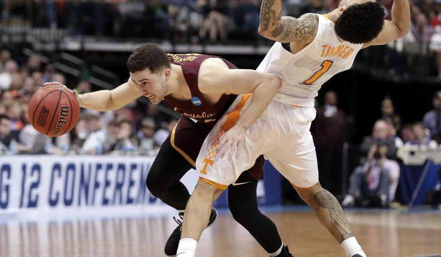 Loyola-Chicago guard Ben Richardson (14) is fouled by Tennessee guard Lamonte Turner during the second half of a second-round game at the NCAA men's college basketball tournament in Dallas, Saturday, March 17, 2018. (AP Photo/Tony Gutierrez)