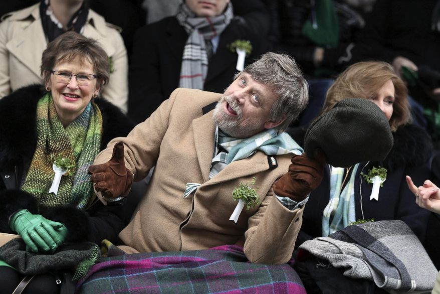 U.S. actor Mark Hamill gestures as he attends the St Patrick's day parade, in Dublin, Saturday, March 17, 2018. (Brian Lawless/PA via AP) ** FILE **