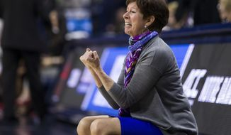 Notre Dame head coach Muffet McGraw yells at her players during a first-round game against Cal State Northridge in the NCAA women's college basketball tournament Friday, March 16, 2018, in South Bend, Ind. (AP Photo/Robert Franklin)