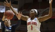 George Washington's Kelli Prange (25) and Ohio State's Stephanie Mavunga (1) battle for a loose ball in the first half during a first-round game in the NCAA women's college basketball tournament Saturday, March 17, 2018, in Columbus, Ohio. (AP Photo/Tony Dejak)