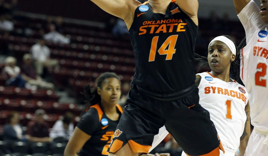 Oklahoma State guard Braxtin Miller (14) shoots a layup past Syracuse defenders during a first-round game in the NCAA women's college basketball tournament in Starkville, Miss., Saturday, March 17, 2018. (AP Photo/Rogelio V. Solis)