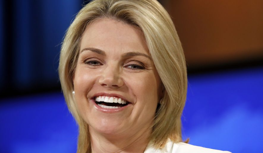 "State Department spokeswoman Heather Nauert speaks during a briefing at the State Department in Washington, Wednesday, Aug. 9, 2017. The State Department says President Donald Trump is ""on the same page"" with the rest of U.S. government with his fiery threat to North Korea. Nauert said the White House, State Department and Pentagon are all in agreement. She says the world, too, is speaking with one voice. (AP Photo/Alex Brandon)"