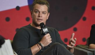 """Matt Damon participates in a press conference for """"Downsizing"""" on day 4 of the Toronto International Film Festival at the TIFF Bell Lightbox on Sunday, Sept. 10, 2017, in Toronto. (Photo by Chris Pizzello/Invision/AP)"""