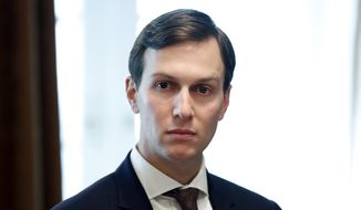 In this Sept. 12, 2017, file photo, White House Senior Adviser Jared Kushner listens as President Donald Trump speaks during a meeting with Malaysian Prime Minister Najib Razak in the Cabinet Room of the White House in Washington. President Donald Trump's son-in-law, Kushner, occasionally used his personal email account to communicate with colleagues in the White House, his lawyer said Sunday, Sept. 24. (AP Photo/Alex Brandon, File)