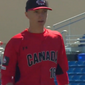 Braden Halladay, 17, son of deceased former MLB pitcher Roy Halladay, walks off the field after pitching a perfect inning for the Canadian Junior National Team against the Toronto Blue Jays, Roy's old team, during spring training in 2018. (Screenshot from Twitter/@MLB)