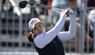 Inbee Park tees off on the first hole during the final round of an LPGA golf tournament on Sunday, March 18, 2018, in Phoenix. (AP Photo/Rick Scuteri)