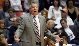 Auburn coach Bruce Pearl reacts during the first half of the team's second-round NCAA college basketball tournament game against Clemson on Sunday, March 18, 2018, in San Diego. (AP Photo/Denis Poroy)