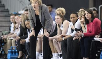 Iowa head coach Lisa Bluder yells instructions to her players during the second half of a first-round game in the NCAA women's college basketball tournament against Creighton in Los Angeles, Saturday, March 17, 2018. (AP Photo/Kyusung Gong)