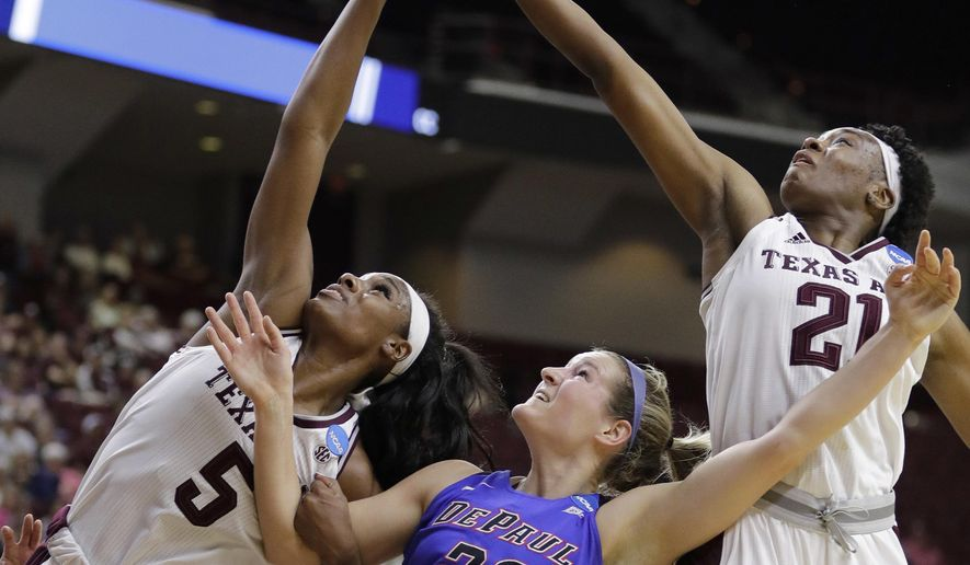 Texas A&M's Anriel Howard (5) and Jasmine Lumpkin (21) reach for a rebound along with DePaul's Kelly Campbell during the first half of a second-round game in the NCAA women's college basketball tournament in College Station, Texas, Sunday, March 18, 2018. (AP Photo/David J. Phillip)