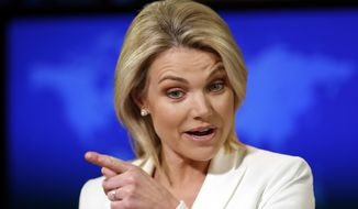 "FILE - In this Aug. 9, 2017, file photo State Department spokeswoman Heather Nauert speaks during a briefing at the State Department in Washington. Nauert's unlikely climb has taken her from ""Fox & Friends"" to the upper echelons of American diplomacy in less than a year. (AP Photo/Alex Brandon, File)"
