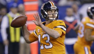 This Dec. 14, 2017 photo shows Denver Broncos quarterback Trevor Siemian (13) throwing against the Indianapolis Colts during the first half of an NFL football game in Indianapolis. The Minnesota Vikings have finalized their trade with the Broncos to acquire Siemian, to be their backup to free agent prize Kirk Cousins. The Vikings announced the deal, which was agreed to last week, on Monday, March 19, 2018. (AP Photo/AJ Mast)