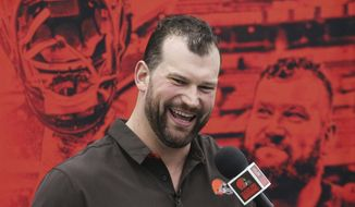 Cleveland Browns' offensive lineman Joe Thomas speaks while bidding farewell to the owners, coaches, staff and fans during a news conference, Monday, March 19, 2018, at the Browns' headquarters in Berea, Ohio. Thomas is retiring after 11 NFL football seasons. The 10-time Pro Bowler announced his retirement, ending a career marked by durability and dominance. (John Kuntz/The Plain Dealer via AP)