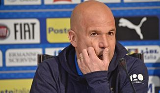 Italy coach Luigi Di Biagio talks to journalists during a press conference at the Coverciano training facility, near Florence, Italy, Monday, March 19, 2018. Italy is scheduled to play a friendly soccer match against Argentina, March 23, in Manchester, Britain. (Maurizio Degli Innocenti/ANSA via AP)