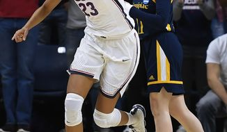 Connecticut's Azurá Stevens (23) reacts after a basket during the first half of a second-round game against Quinnipiac in the NCAA women's college basketball tournament in in Storrs, Conn., Monday, March 19, 2018. (AP Photo/Jessica Hill)