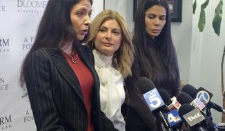 Former model Faviola Dadis, left, reads from a statement at a news conference with her attorney, Lisa Bloom, center, in Los Angeles Monday, March 19, 2018. Dadis, an aspiring actress says she was 17 when actor Steven Seagal sexually assaulted her during a supposed casting session in 2002. At right, Regina Simons who has also accused Seagal of sexual misconduct. Seagal's attorney has not responded to a request for comment about Dadis' allegations.(AP Photo/Andrew Dalton)