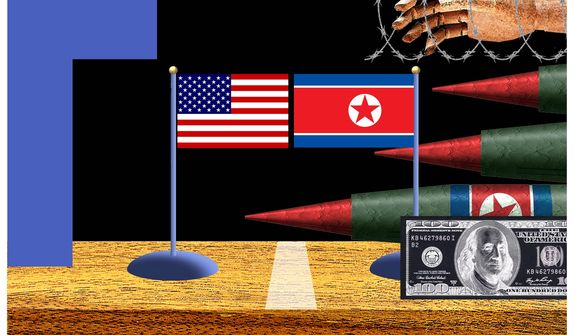 Illustration on the upcoming meeting between President Trump and Kim Jong-un by Alexander Hunter/The Washington Times