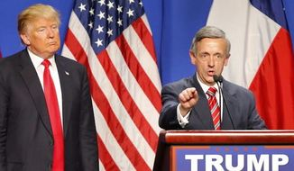 Pastor Robert Jeffress appears with then-candidate Donald Trump at a presidential event. He's behind the March For Our Eternal life rally. (Associated Press)