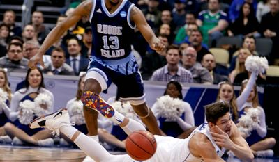 Duke guard Grayson Allen dives for a loose ball on Saturday. The focus on Allen this season has been his production on the court and leadership off it. (ASSOCIATED PRESS)