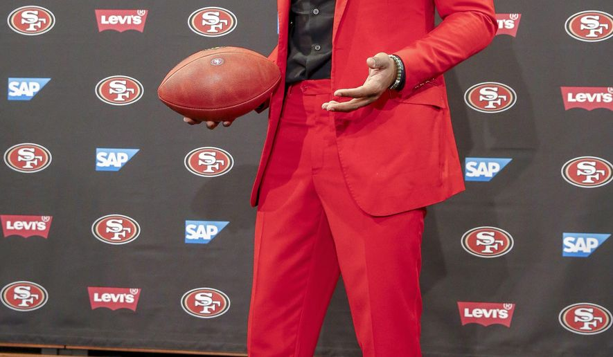 San Francisco 49ers new cornerback Richard Sherman poses for a photo after answering questions during an NFL football news conference in Santa Clara, Calif., Tuesday, March 20, 2018. Sherman agreed to a three-year deal with the 49ers. (AP Photo/Tony Avelar)