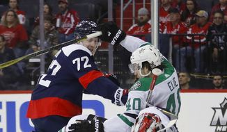 Dallas Stars left wing Remi Elie (40) collides with Washington Capitals center Travis Boyd (72) and goaltender Braden Holtby (70) during the third period of an NHL hockey game Tuesday, March 20, 2018, in Washington. The Capitals won 4-3. (AP Photo/Pablo Martinez Monsivais)
