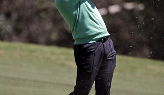 Ian Poulter hits on the third hole during a practice round at the Dell Technologies Match Play golf tournament at the Austin Country Club, Tuesday, March 20, 2018, in Austin, Texas. (AP Photo/Eric Gay)