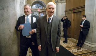 FILE - In this Jan. 10, 2018, file photo,  Sen. Thad Cochran, R-Miss., appears at the Capitol for a vote in Washington. Cochran announced his retirement March 5 due to health issues. The state's governor will appoint Cindy Hyde-Smith to fill the vacancy, three state Republicans told The Associated Press on Tuesday, March 20. Hyde-Smith, the state's agriculture commissioner, would become Mississippi's first female member of Congress and would serve until a special election on Nov. 6. (AP Photo/J. Scott Applewhite, File)
