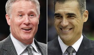 FILE - At left, in a March 11, 2018, file photo, Philadelphia 76ers head coach Brett Brown smiles during the second half of an NBA basketball game against the Brooklyn Nets in New York. At right, Villanova head coach Jay Wright reacts in the final minute of the first half of an NCAA college basketball game against Hofstra in Uniondale, N.Y. Villanova coach Jay Wright has a fan in 76ers coach Brett Brown. The two bonded on a trip to the Middle East and have stayed close as each built their programs in their own way. (AP Photo/Julio Cortez, File)