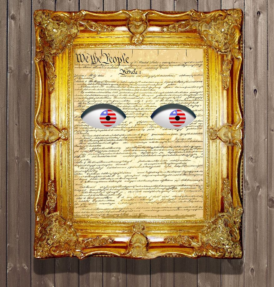 Illustration on the unconstitutional FISA courts by Alexander Hunter/The Washington Times