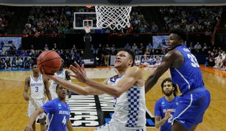 Kentucky forward Kevin Knox is the centerpiece on a Wildcats roster that is stacked with high-profile freshmen. Knox, who was the 11th-ranked recruit in the nation, leads the South's 5th-seeded Wildcats against Kansas State on Thursday. (ASSOCIATED PRESS)