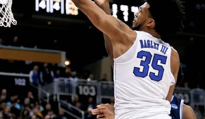 Duke freshman center Marvin Bagley III is a Wooden Award finalist as the best player in the nation. Bagley leads Duke against Syracuse on Friday. (ASSOCIATED PRESS)