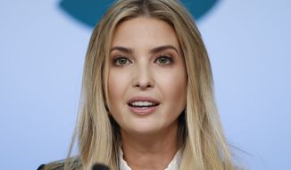 Ivanka Trump, the daughter of President Donald Trump, speaks during a panel at the Eisenhower Executive Office Building on the White House complex in Washington, Tuesday, Jan. 16, 2018. The panel features women from various backgrounds and experiences who will speak with women in the administration, about what has been accomplished to date to advance women at home, and in the workplace. (AP Photo/Carolyn Kaster)