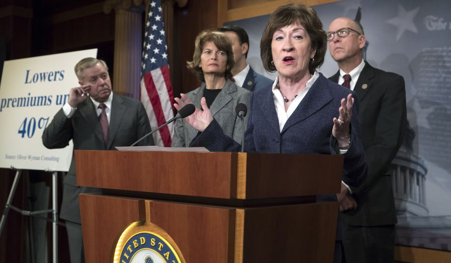 Sen. Susan Collins, R-Maine center, joined by, from left, Sen. Lindsey Graham, R-S.C., Sen. Lisa Murkowski, R-Alaska, and Rep. Greg Walden, R-Ore., pushes for inclusion in the pending government spending bill of provisions aimed at lowering premiums for people purchasing health insurance in the Affordable Care Act's individual marketplace, during a news conference on Capitol Hill in Washington, Wednesday, March 21, 2018. (AP Photo/J. Scott Applewhite) ]