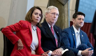 From left, House Minority Leader Nancy Pelosi of Calif., Senate Majority Leader Mitch McConnell of Ky., and House Speaker Paul Ryan of Wis., appear for a Congressional Gold Medal Ceremony honoring the Office of Strategic Services in Emancipation Hall on Capitol Hill in Washington, Wednesday, March 21, 2018. (AP Photo/Andrew Harnik)