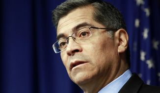 "FILE - This Feb. 20, 2018 file photo shows California Attorney General Xavier Becerra in Sacramento, Calif. Becerra's opponents on Wednesday, March 21, accused him of being too ""obsessed"" with fighting the Trump administration at the expense of other critical issues. (AP Photo/Rich Pedroncelli, File)"