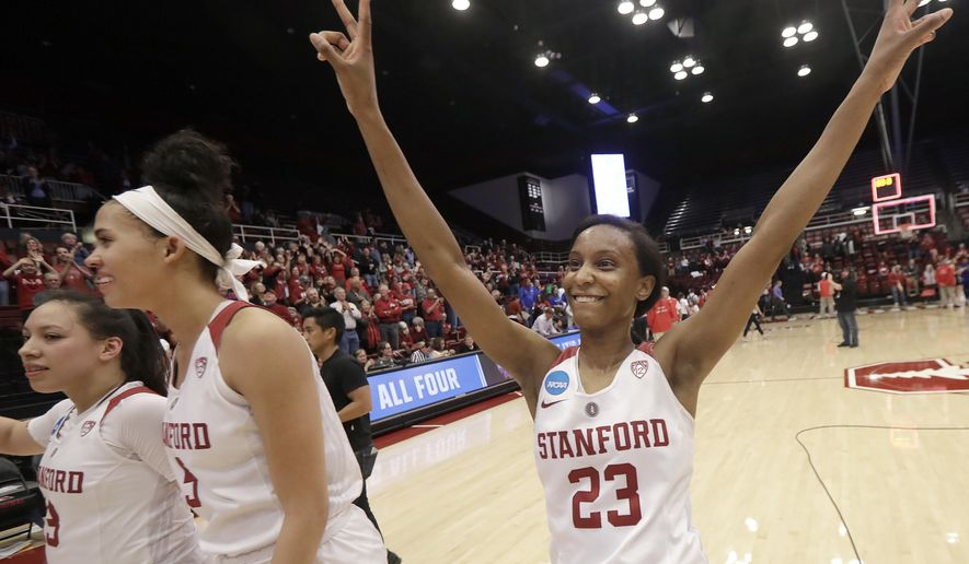Stanford guard Kiana Williams (23) celebrates after her team defeated Florida Gulf Coast in a second-round game in the NCAA women's college basketball tournament in Stanford, Calif., Monday, March 19, 2018. (AP Photo/Jeff Chiu)