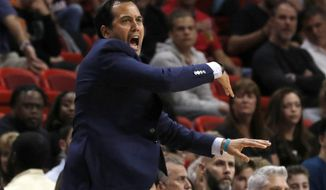 Miami Heat coach Erik Spoelstra gestures to his team during the second quarter of an NBA basketball game against the New York Knicks on Wednesday, March 21, 2018, in Miami. (AP Photo/Joe Skipper)