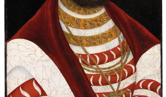 """This undated photo provided by Christie's shows the oil painting """"Portrait of John Frederick I, Elector of Saxony,"""" by Lucas Cranach the Elder. The painting, which was looted by the Nazis, was recently returned to its owner's heirs after being missing for nearly 80 years, and Christie's auction house is putting it up for sale in April 2018. (Christie's Images via AP)"""