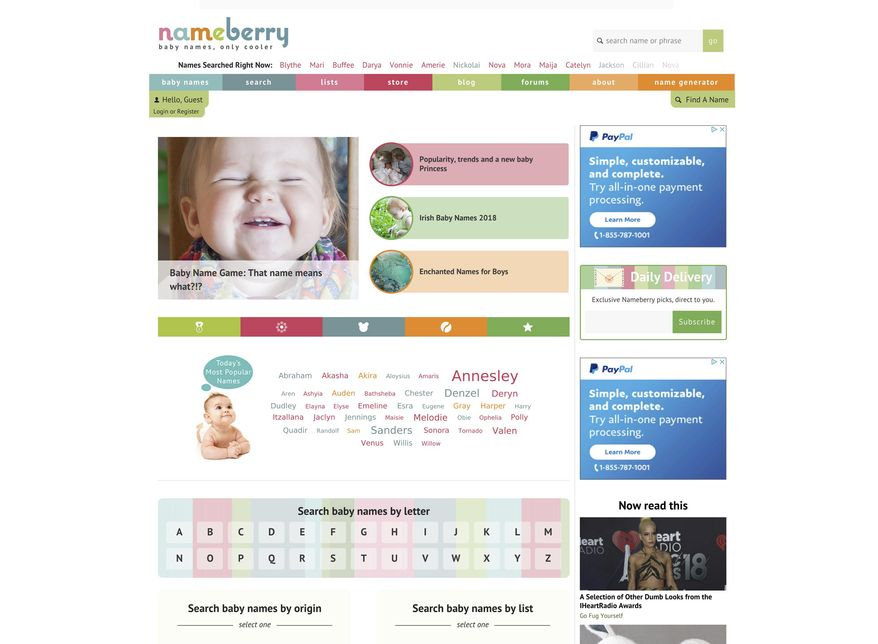 This screen grab released by Nameberry shows their homepage. The site hosts naming-centric forums, and Satran blogs regularly about issues related to naming babies. (Nameberry via AP)