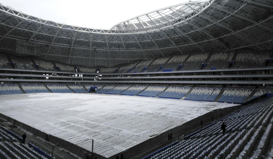 """A view of the 45,000-seat Samara Arena in Samara, Russia, Wednesday, March 21, 2018. FIFA says a World Cup stadium in the Russian city of Samara requires """"a huge amount of work"""" to be ready on time. (AP Photo/Oleksandr Stashevskyi)"""