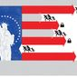 Illustration on the factors involved in immigration reform by Linas Garsys/The Washington Times