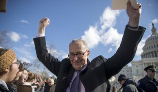"""""""It's a funny thing,"""" said Senate Minority Leader Charles E. Schumer. """"We're able to accomplish more in the minority than we were when we had the presidency or even were in the majority."""" (Associated Press)"""