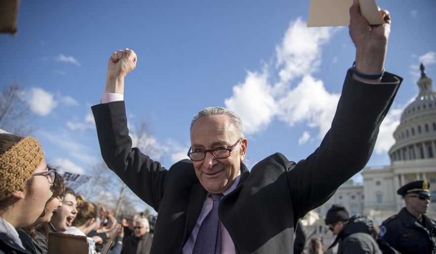 """It's a funny thing,"" said Senate Minority Leader Charles E. Schumer. ""We're able to accomplish more in the minority than we were when we had the presidency or even were in the majority."" (Associated Press)"