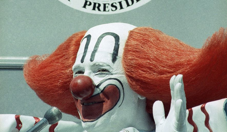 Bozo the clown makes a campaign appearance in Los Angeles, Oct. 2, 1984. (AP Photo/Mark Avery)