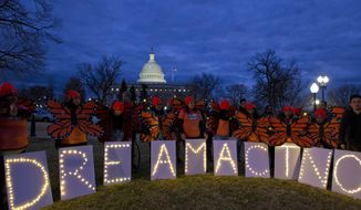 Demonstrators rally in support of Deferred Action for Childhood Arrivals (DACA) outside the Capitol in Washington on Jan. 21, 2018. (Associated Press) **FILE**