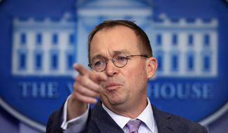 Office of Management and Budget Director Mick Mulvaney speaks in the Brady press briefing room at the White House in Washington, Thursday, March 22, 2018. (AP Photo/Manuel Balce Ceneta) **FILE**